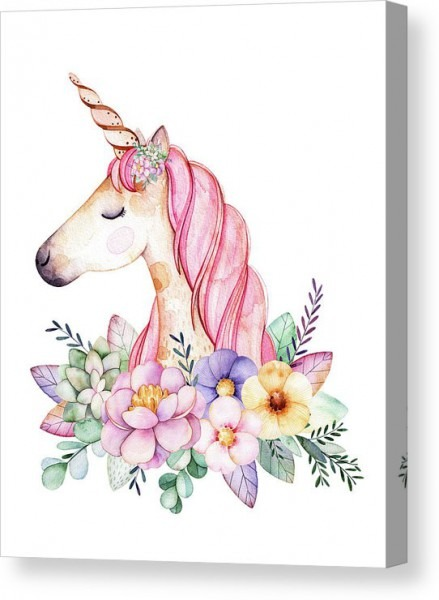 Magical Watercolor Unicorn Canvas Print   Canvas Art By Lisa Spence