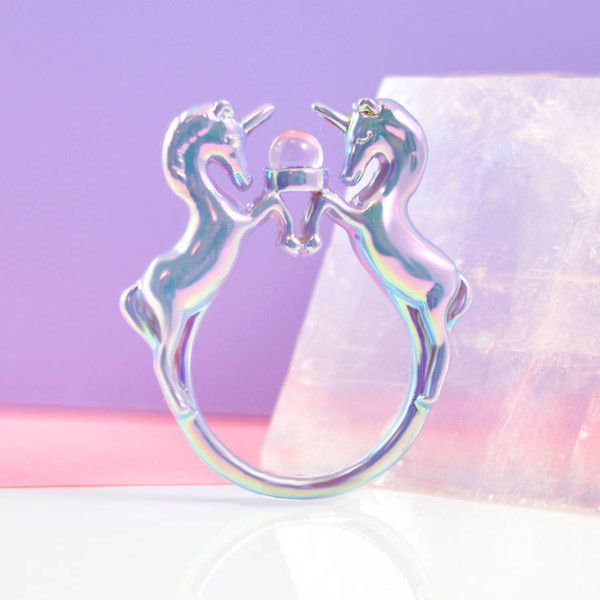 Me & Zena Lilac Iridescent Unicorn Ring ($23) ❤ Liked On Polyvore