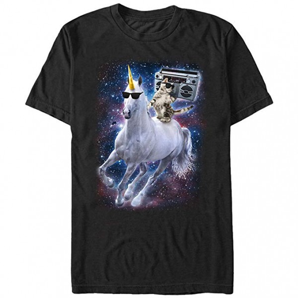 Men's Boombox Cat And Unicorn Space Song Black T