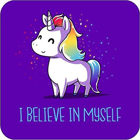 M&g Unicorn I Believe In Myself Magical Drinks Coaster Gift