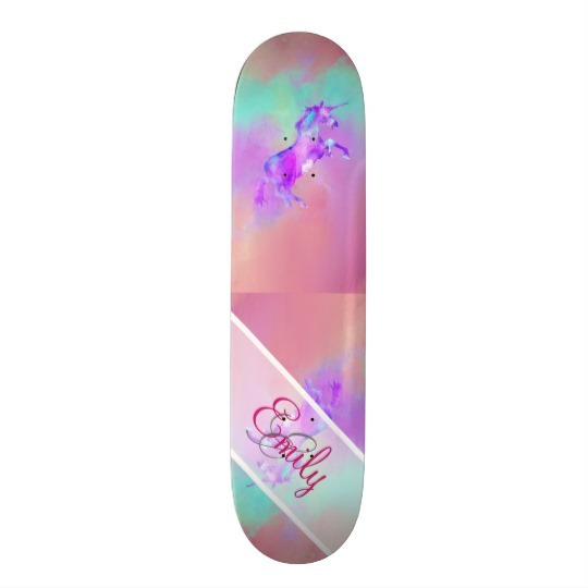 Monogram Unicorn Cute Pink Teal Purple Watercolors Skateboard