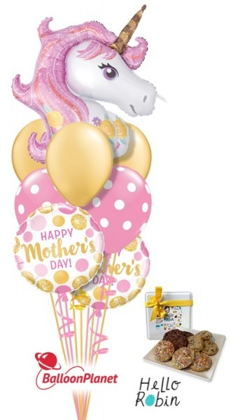 Mother's Day Magic Unicorn Balooon Cookie Bouquet (9 Balloons