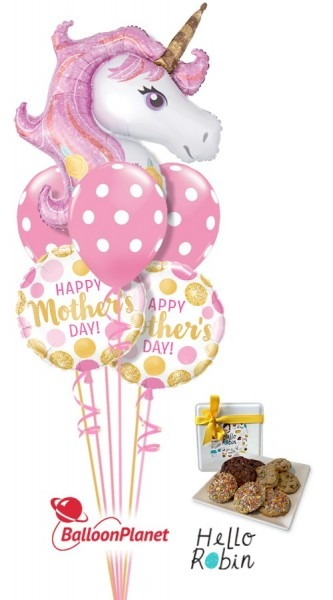 Mother's Day Unicorn Magic Balloon Cookie Bouquet (6 Balloons