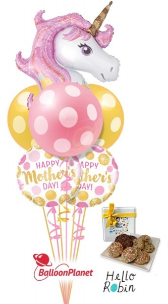 Mother's Day Unicorn Magic Bubbles Balloon Cookie Bouquet (6
