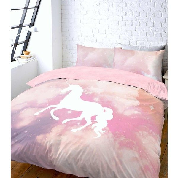 New Look Pink Unicorn Galaxy Tie Dye Print Double Duvet Set ($37