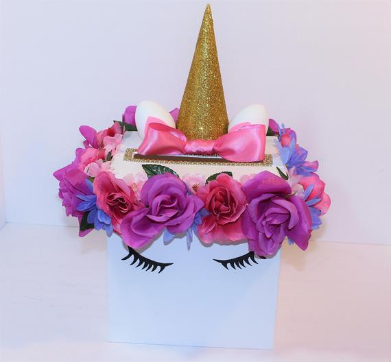 New Unicorn Card Box W Silk Flowers Custom Photo Prop Sweet
