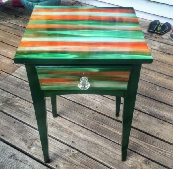Nightstand Side Table Refurbished With Unicorn Spit