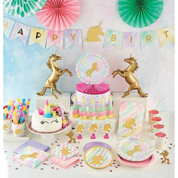 Pastel And Gold Unicorn Sparkle Hanging Decor  Unicorn Birthday