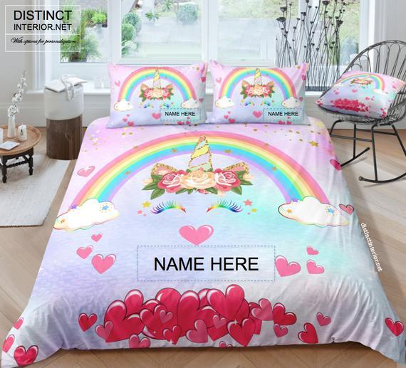 Personalized Rainbow Unicorn Bedding Set With Name Unicorn