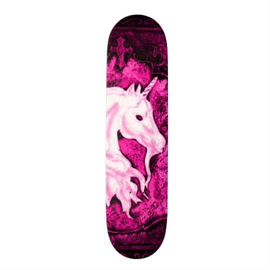 Pink Gothic Unicorn Deck Skateboard
