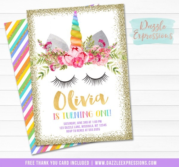 Printable Unicorn Invitations – Air Media Design