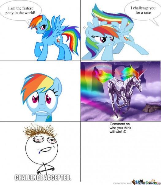 Rainbow Dash Vs Robot Unicorn Attack By Calli
