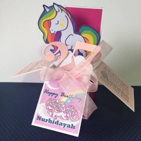 Rainbow Unicorn Birthday Box Card, Design & Craft, Others On Carousell