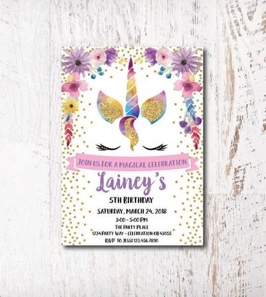 Rainbow Unicorn Party Invitation  Etsy  Etsyshop  Etsyfinds