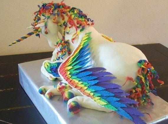 Rainbow Unicorn Pegasus Cake! How Awesome Is This ! I Feel Like I