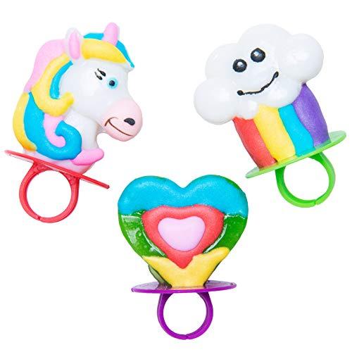Rainbow Unicorn Shaped Ring Pop Lollipops, 1 5 Oz, 2 Packs