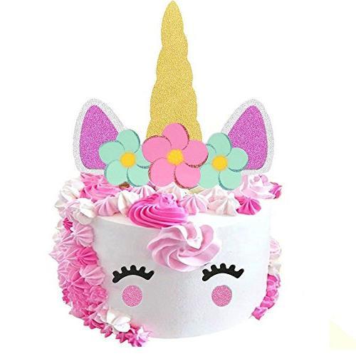 Sakolla Handmade Gold Unicorn Cake Topper Happy Birthday