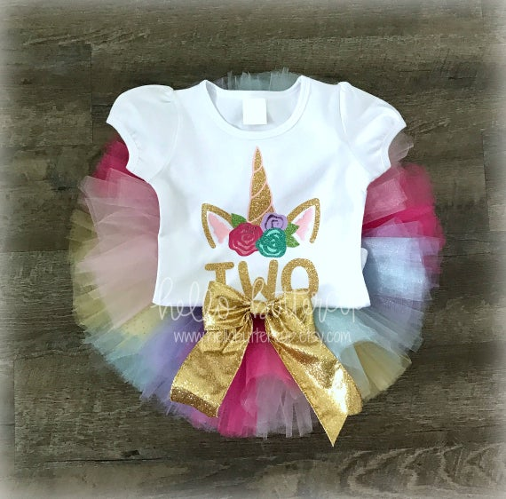 Second Birthday Outfit Girl Unicorn Outfit Rainbow Unicorn