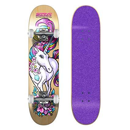 Skatexs Beginner Unicorn Girls Skateboard  Amazon Co Uk  Sports