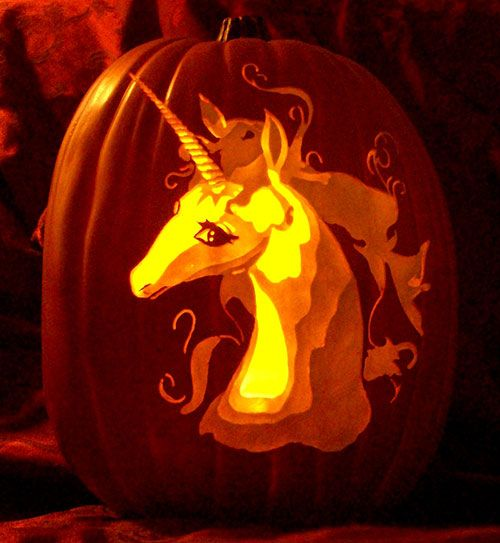 Test Iklan Baru  Last Unicorn Carved Pumpkin By The Pumpkin Geek