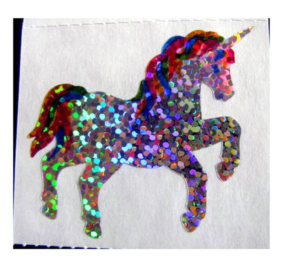 Two Rare Vintage Hambly Glitter Unicorn Stickers 80's