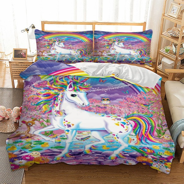 Unicorn Bedding Set Rainbow Duvet Cover Pillow Cases Twin Full