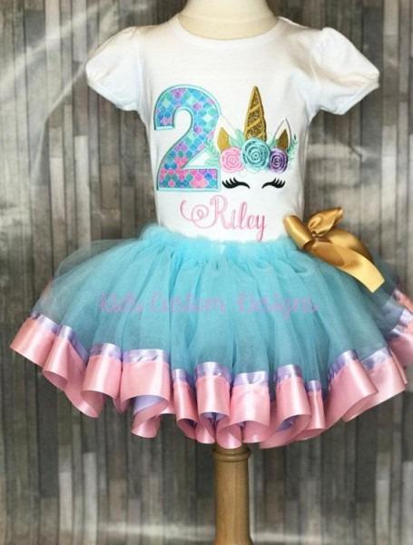 Unicorn Birthday Outfit   Embroidered Unicorn Birthday Shirt   1st