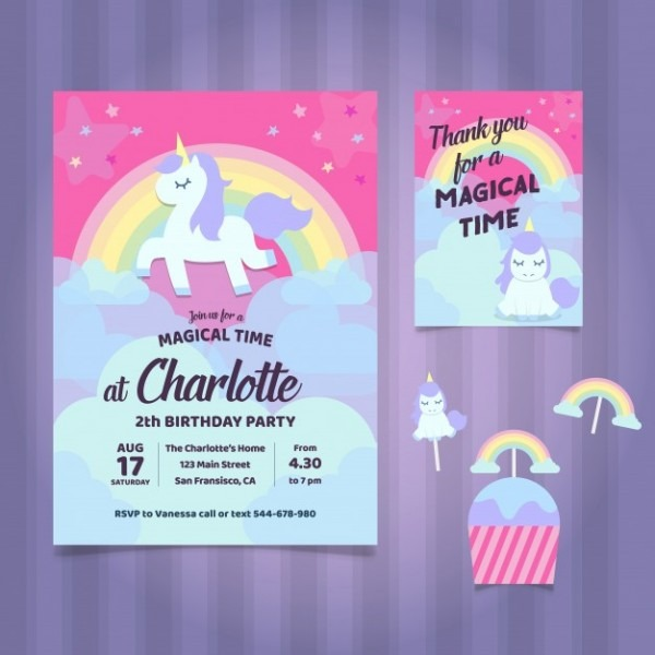Unicorn Birthday Party Invitation Vector