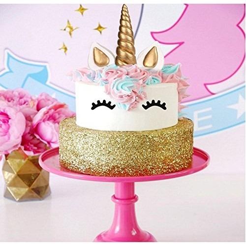 Unicorn Cake Topper, Reusable Gold Unicorn Horn,ears And