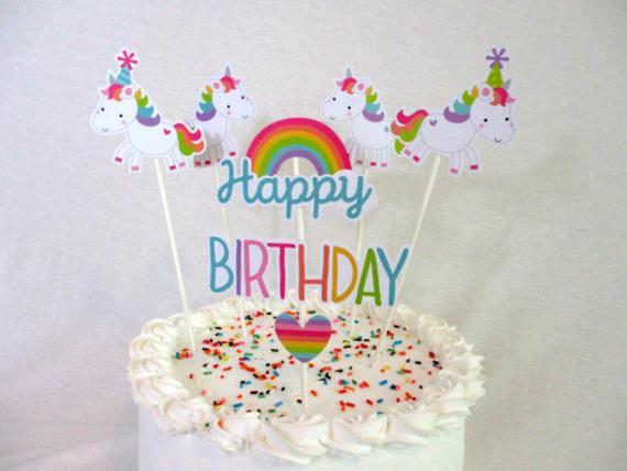Unicorn Cake Topper Unicorns & Rainbow Cupcake Toppers