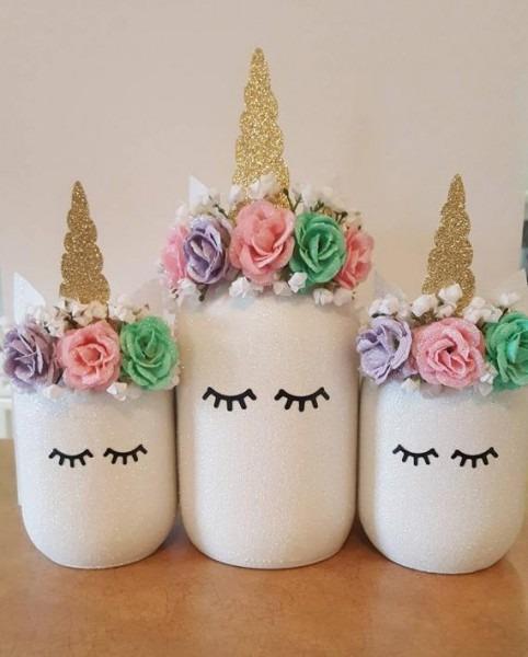 Unicorn Centerpiece Unicorn Mason Jar Unicorn Party