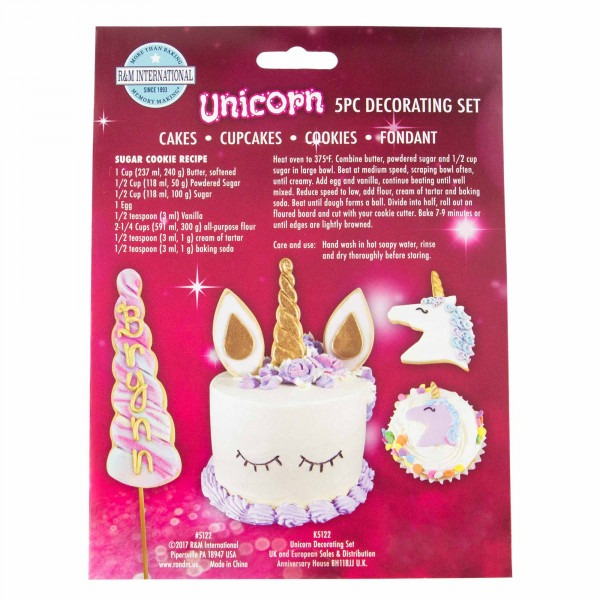 Unicorn Cookie Cutter And Cake Decorating Kit, Set Of 5 By Global