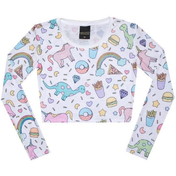 Unicorn Crop Top Long Sleeve Tank T Shirt Womens Ladies Girls Top