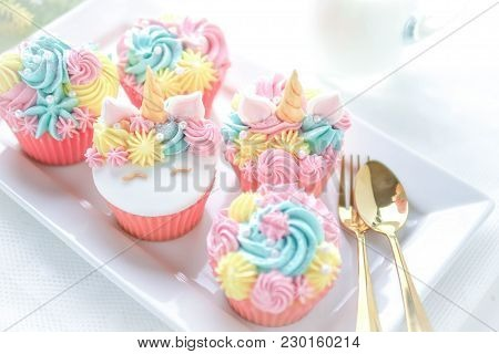 Unicorn Cupcakes Frosting With Pastel Color Butter Cream Serve