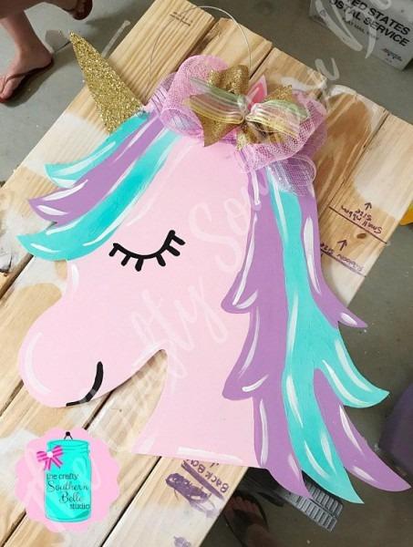 Unicorn Door Hanger Unicorn Head Door Hanger Door Hanger