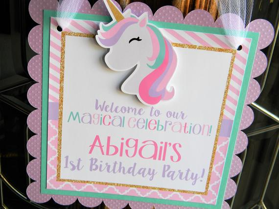 Unicorn Door Sign Birthday Party Decorations Door Hanger