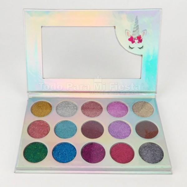 Unicorn Dream Glitter Eyeshadow Palette 15 Colors Beauty Creations