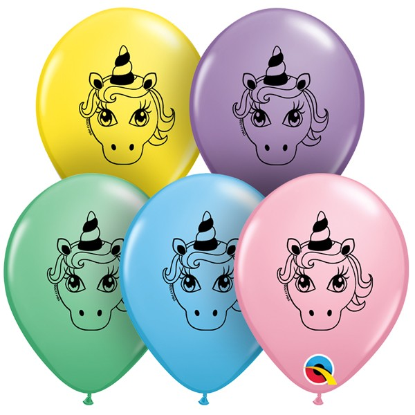 Unicorn Head Pastel Assortment Qualatex 5  Latex Balloons X 10
