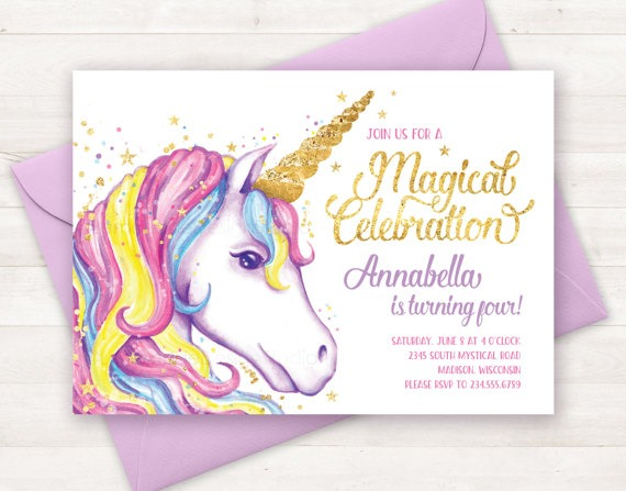 Unicorn Invitation, Unicorn Birthday Invitation, Unicorn Party