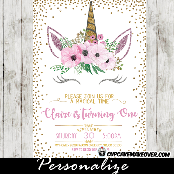 Unicorn Party Invitations Printable, Pink Floral Gold Glitter