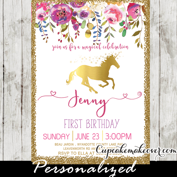 Unicorn Party Invitations, Printable Pink Gold Floral First