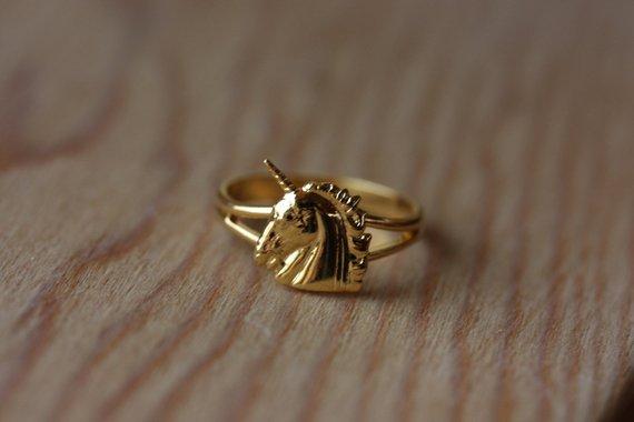 Unicorn Ring Gold, Adjustable Unicorn Ring, Small Gold Unicorn