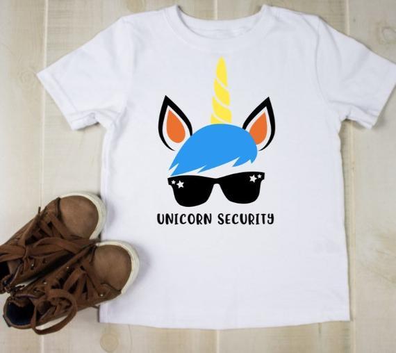 Unicorn Security Shirt Boys Funny Ring Security Shirts