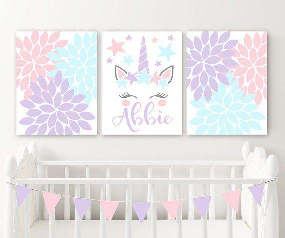 Unicorn Wall Art, Unicorn Nursery Decor Canvas Or Prints Girl Name