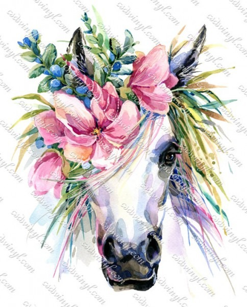 Unicorn With Flowers Floral Unicorn Sublimation Transfer
