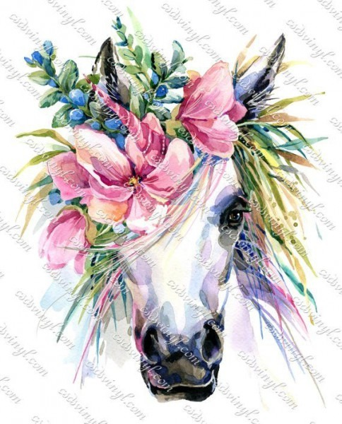 Unicorn With Flowers, Floral Unicorn Sublimation Transfer, Ready