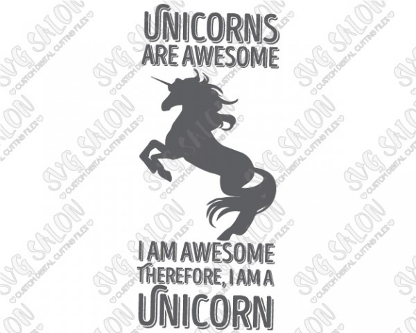 Unicorns Are Awesome Cutting File In Svg, Eps, Dxf, Jpg, And Png