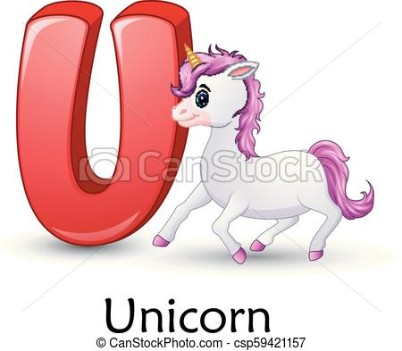 Vector Illustration Of Letter U Is For Unicorn Cartoon Alphabet