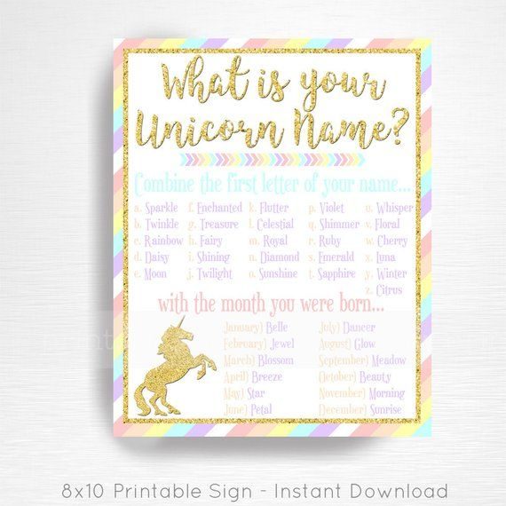 Your Unicorn Name Unicorn Party Sign Pastel Rainbow Unicorn