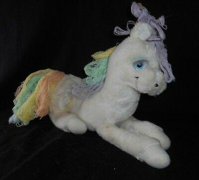 13  Vintage White Laying Unicorn Pastel Rainbow Hair Stuffed